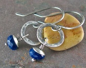 Petite Lapis Lazuli Earrings Rustic Jewelry Hammered Silver Circle Earrings Fine Silver Sterling Silver Earrings Natural Stone Jewelry
