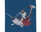 Sir Catspian, Narwhal, Shower Curtain, Printed in USA