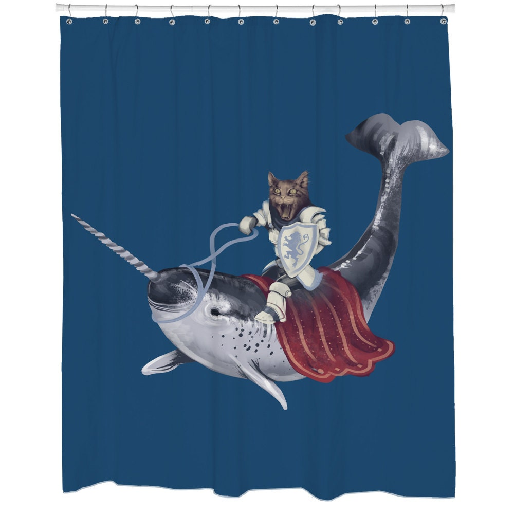 Funny shower curtains cat shower curtain blue narwhal shower for Funny shower curtains