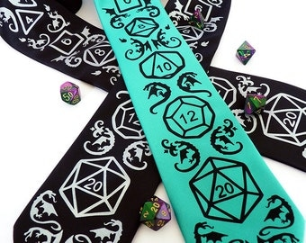 Dice and Dragons Necktie - DnD, RPG, D20 Dice, Dragon Men's Tie - High Roller Necktie - Geek Gamer Gift
