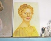 Vintage Portrait Painting Pretty Young Woman