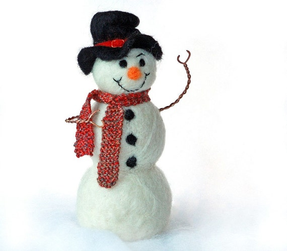 Needle Felted Snowman With Knitted Wool Scarf By
