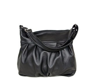 Ruche Hobo in Onyx Black Leather - Ruche Bag - Zipper Top Hobo - Made to Order