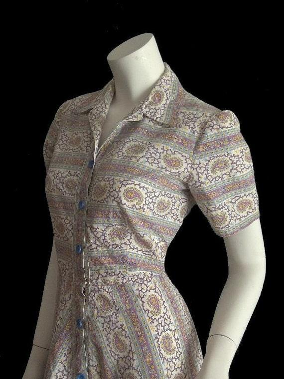 Vintage 50's Rockabilly Paisley Print Chevron Stripe Shirt Dress S