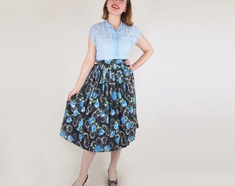"40s Blue and Black Flower Cotton Full Skirt 24"" waist"