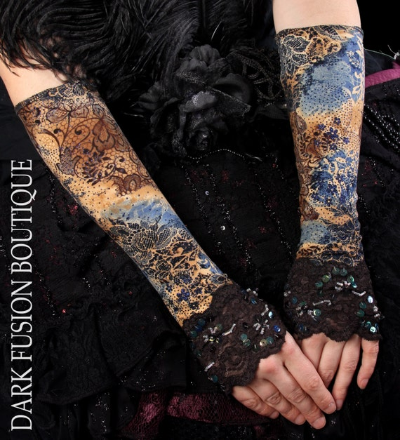 Armwarmers, Brown, Tan and Blue Tribal, Vaudeville, Cabaret, Gloves, Arm Warmers
