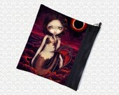 Jasmine Becket-Griffith Mermaid Eclipse, zippered pouch, cosmetics makeup bag wristlet, travel bag,