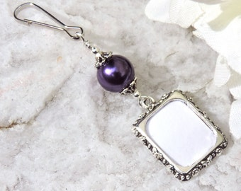Wedding bouquet photo charm. Purple pearl wedding keepsake. Bridal shower gift for the bride. Small picture frame memorial charm.