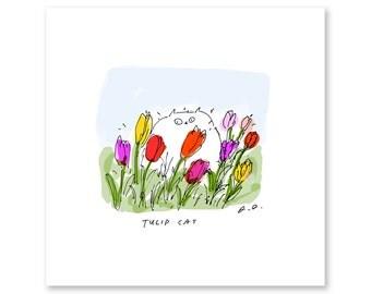 Tulip Cat Print - Spring Art - Garden Cat Print - Cat Mom