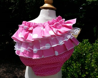 Ruffle Sweet Bottoms diaper cover, Pink with White polka dots - Baby girl sizes 0-18 months