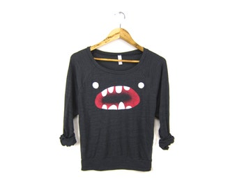 Om Nom Sweatshirt - Oversized Lightweight Long Sleeve Pullover Raglan Sweater in Heather Black and Red - Women's Size S-2XL
