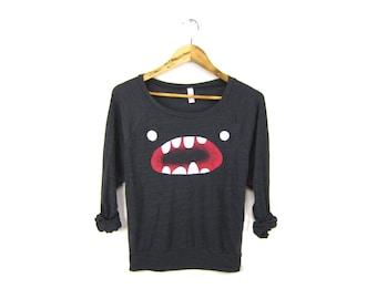 Om Nom Sweatshirt - Oversized Lightweight Long Sleeve Pullover Raglan Sweater in Heather Black and Red - Women's Size S-2XL