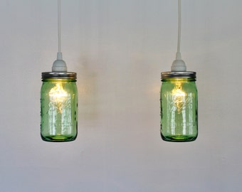 Pair of GREEN Mason Jar Pendant Lamps - 2 Hanging Lighting Fixtures featuring 2 Green Quart Ball Mason Jars - Upcycled BOOTSNGUS Lights