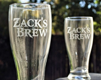 Etched Glass, Personalized Beer Set, Custom Gift for Him,Christmas Gift for Men, Custom Drinking Glasses, Pilsners, beer gift, custom beer