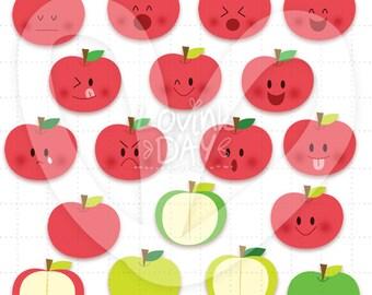 Apples Emoticon Clip Art Set D13018