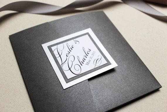 Silver Pocketfold Wedding Invitations, Black and Silver Invites, Script, Elegant Wedding Invitations - Once Charmed Pocketfold Invite Sample
