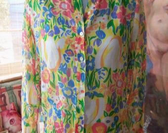 70s GORDON of Philadelphia--Cotton Voile Top--Preppy Flowers--Watercolor--Like a Monet