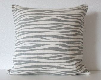 Gray ivory tiger stripes - 20x20 linen pillow cover