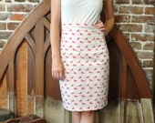 High waisted secretary pencil skirt with hot pink horses and horseshoes - Size M
