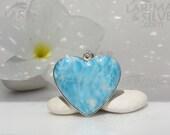 Larimar heart pendant, Blue Fairy Heart - magical azure Larimar stone, blue heart pendant, turquoise heart, love stone, handcrafted pendant