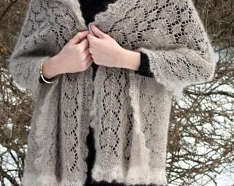 Beige and gray brown hand knitted peacock tail retangular kid mohair-silk babyalpaca-silk shawl wrap by Kailill