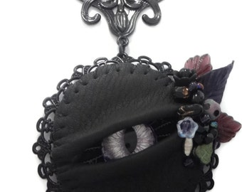 Gothic Eye Necklace- LaGrand Sightmares ™ © Lavanze Silver and Purple Eye in Black Lacework with Crystals and Beads by Dr Brassy Steampunk