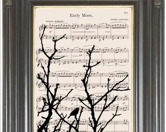 Singing bird Tree silhouette print on dictionary or music page COUPON SALE Dictionary art Sheet music Digital print Nursery decor No. 610