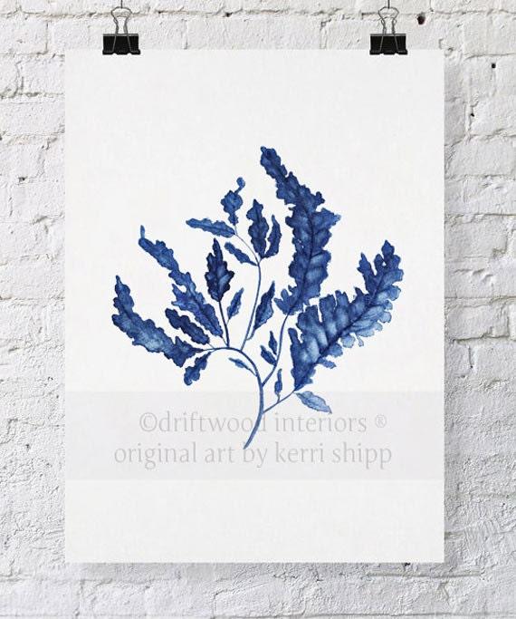 Seaweed in Denim Print 8x10 - Sea Life Art Print - Blue Coral Watercolor - Blue Coral Print - Seaweed Wall Art Print - Marine Life Print