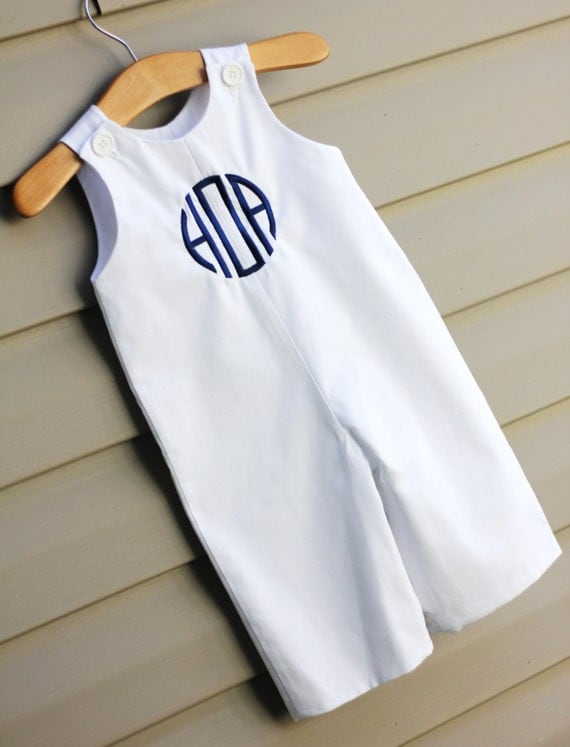 Boys Monogrammed White Pique Longall