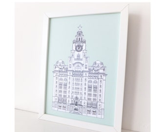 Liver Building, A3 picture, Liverpool, Mint Green Liverpool drawing, art print, home decor, Liverpool Print, large print