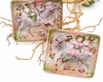 Vintage Victorian Wall Plaques, 3D Wall Art, Ceramic Wall Hangings, Boy Girl, Goats