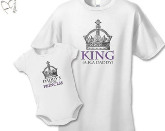 Father's Day Gift - King and Princess T-Shirts - Royal Father Daughter Gift Set (2 shirts) - Matching Father Daughter Shirts- Father's Day