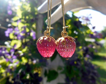 Strawberry earrings, West Germany, vintage glass