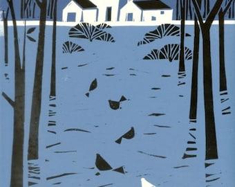 Farmhouse Treescape Linocut - Printmaking Original Limited Edition Linocut - English Landscape - Birds & Trees Signed Giuliana Lazzerini