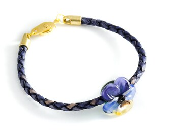 Jack-jump-up / pansies bracelet glass lampwork purple blue, blue and yellow on a braided leather cord
