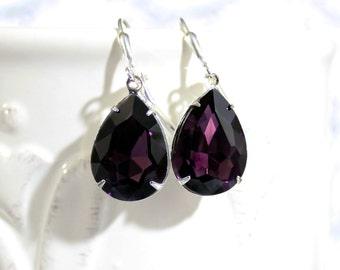 Amethyst Earrings  Amethyst Purple Crystal Rhinestone Earrings February Birthstone Fall Winter Wedding Prom
