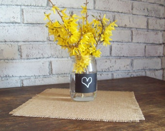Set of 8 Small Burlap Table Square, Sizes 12 x 12, 15 x 15 or 18 x 18, Burlap Table Toppers, Rustic Country or Barn Wedding Table Decor