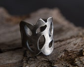 Modern Lace Ring-Peyote Inspired Ring-Sterling Silver Lingerie Ring-Romantic Gothic Jewellery