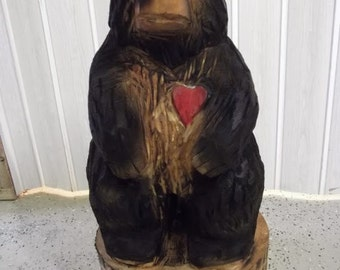 Chainsaw Carved Black Bear With A Carved Red Heart -