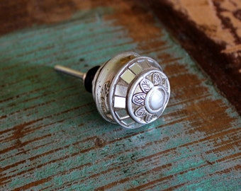 Antique Pewter Knob - Vintage Drawer Pull - Silver Knob - Cabinet Knob - Vintage Dresser Knob - Farmhouse Style
