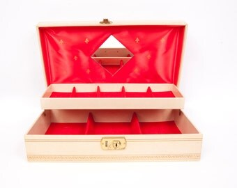 Vintage Jewelry Box Case Chest Organizer Mirror Two Tier Red Felt Lining Faux Leather Gold Stars