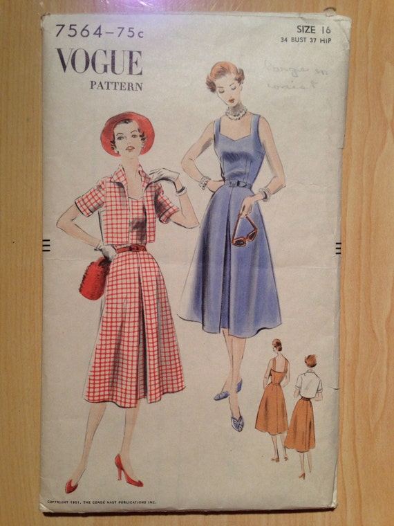 Vogue Sewing Pattern 7564 Misses One Piece Dress and Bolero Vintage 50s Size 16