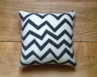 Wool Zig Zag Pillow - White and Charcoal Gray Camp Blanket