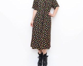 Vintage black floral 90s maxi grunge dress