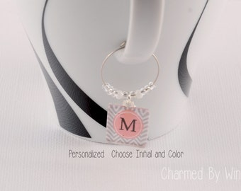 Chevron Initial Wine Charms - Choose initial and color