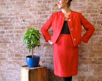 Vintage Tomato Red Wool Suit 1960s boucle mad men wiggle skirt