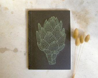 Artichoke. Embroidered A5 Notebook. Black Journal. Men's Book. 3D Geometric Design Book. Gardener Gift. Green Cook Book. Recipes Notebook