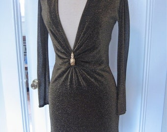 Vintage TOM FORD for GUCCI Dress with Plunging Neckline in Bronze Metallic Fabric with Gold Plated Lion Brooch