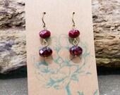 Velvet Red Earrings: Beaded Earrings, Dangle Earrings, Glass, Dark Red, Drop Earrings, Rustic, Maroon