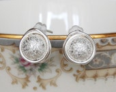 Silver Stardust Studs , New Year's Eve Earrings , Wire Wrapped Studs , Sparkle Earrings